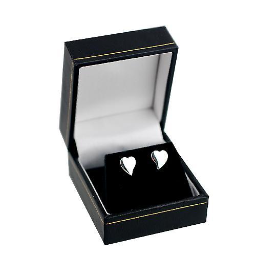 Silver 8x8mm plain heart shaped stud Earrings