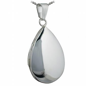 Silver 30x20mm plain teardrop Locket with a curb Chain 24 inches