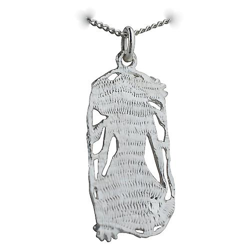 Silver 33x17mm Scorpio Zodiac Pendant with a Curb chain