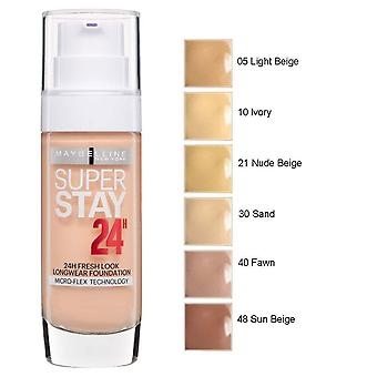 2 x Maybelline Superstay 24H Fresh Look Longwear Foundation 30ml Various Shades