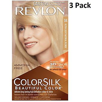 4 X Revlon Colorsilk Ammonia Free Permanent Hair Colour (04Ultra Light Natural Blonde)