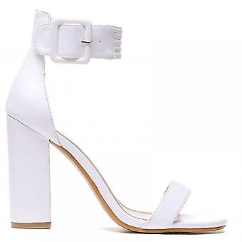 Shoe Closet Ladies DB115 White Pu Leather Ankle Strap Strappy Sandals Peep Toes High Heels