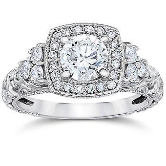 CT 1 cuscino Halo tondo oro bianco con diamanti anello di fidanzamento Vintage 14K