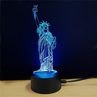 The Statue of Liberty 3D LED Light - 7 Colors, 2 Light Modes, Power Through Micro USB, 5W