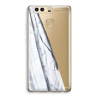 Huawei P9 Transparent Case (Soft) - Striped marble