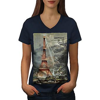 Light Urban Eiffel Women NavyV-Neck T-shirt | Wellcoda