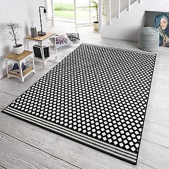 Designer velour carpet spot black cream
