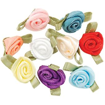 Ribbon Roses 40/Pkg-Assorted Colors
