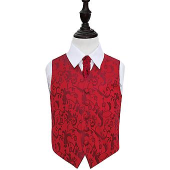 Gilet de mariage Floral Bourgogne & ensemble cravate pour les garçons
