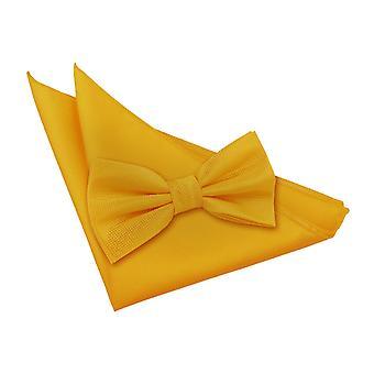 Sonnenblumen Gold solide Check Fliege & Einstecktuch Satz