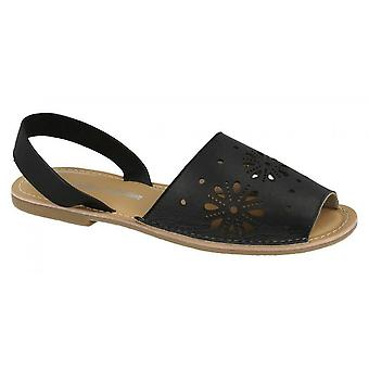 Leather Collection Womens/Ladies Flat Flower Design Mule Sandals
