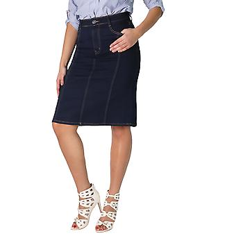 KRISP  Womens Ladies Classic Stretch Denim Pencil Knee Long Jeans Skirt Plus Size 12-22