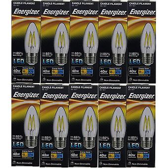 20 X Energizer LED Filament Candle ES E27 4W = 40W 470lm Warm White Screw Cap Bulb  [Energy Class A+]