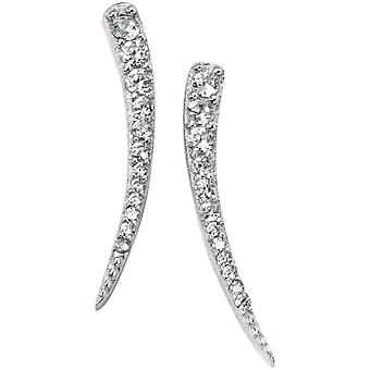 Elements Silver Rhodium Plated Cubic Zirconia Curve Bar Earrings - Silver