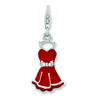 Sterling Silver Fancy Lobster Closure Rhodium-plated Cubic Zirconia Enameled Dress With Lobster Clasp Charm