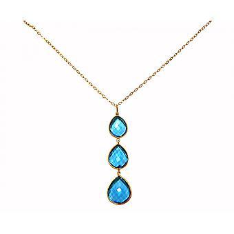 Gemshine - ladies - necklace - pendant - 925 silver - gilt - Topaz quartz - blue - CANDY - drops - 9 cm
