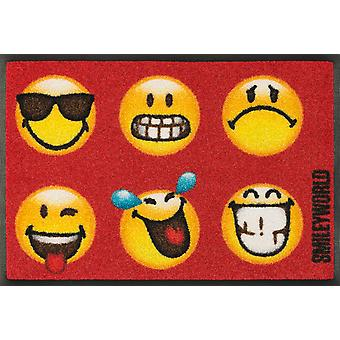 wash + dry mat of smiley faces funny washable floor mat