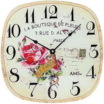 AMS 9481 ściana zegar kwarcowy analogowe vintage antyk retro z motywem róży