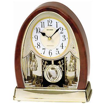 Rytm 7636 tabela zegar kwarcowy z drewna wahadła złote wyglądają z Melody czujnik światła