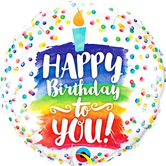 Qualatex 18in Happy Birthday To You Rainbow Cake Foil Balloon