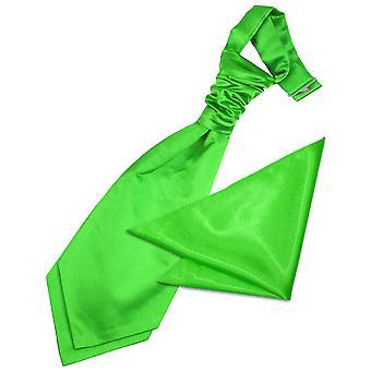 Apple Green Plain Satin Wedding Cravat & Pocket Square Set for Boys