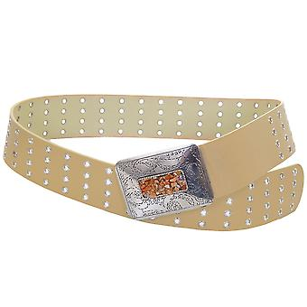 Ladies Silver Patterned Stone Buckle Beige Black Women's Adjustable Belt