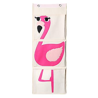 TRIXES Pink Flamingo Canvas Kids and Baby Nursery Book Organiser