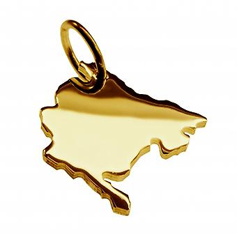 Trailer map MONTENEGRO pendants in massive 585 gold