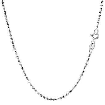 14k White Gold Solid Diamond Cut Royal Rope Chain Necklace, 1.25mm