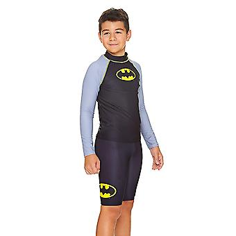 Zoggs Kids Batman Long Sleeve Sun Top, Black/Grey