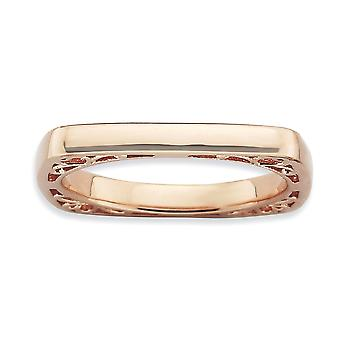 2.25mm Sterling Silver Stackable Expressions Polished Pink-plate Square Ring - Ring Size: 5 to 10