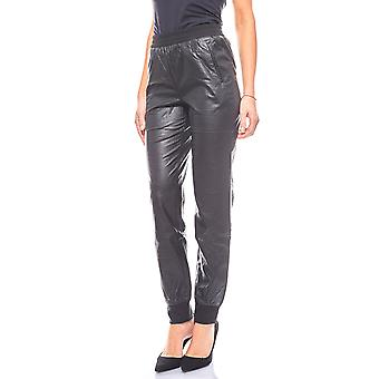 Laura Scott low rise ladies trousers in black leather