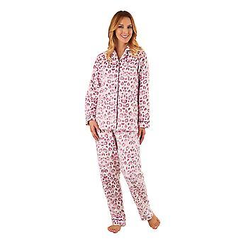 Slenderella PJ8311 Frauen rosa Tier Print Pyjama-Langarm-Pyjama-Set
