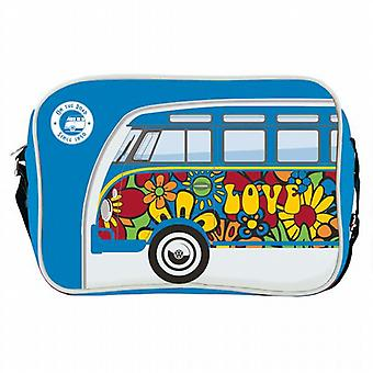 Official VW Camper Van Messenger Shoulder Bag - Blue Flower Power