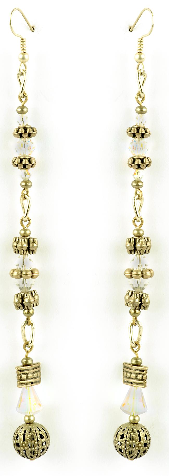 Waooh - Fashion Jewellery - WJ0791 - On Earrings with Swarovski White - Frame Color Silver