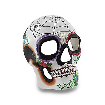Colorful Spider Web And Flowers DOD Sugar Skull Style Mask