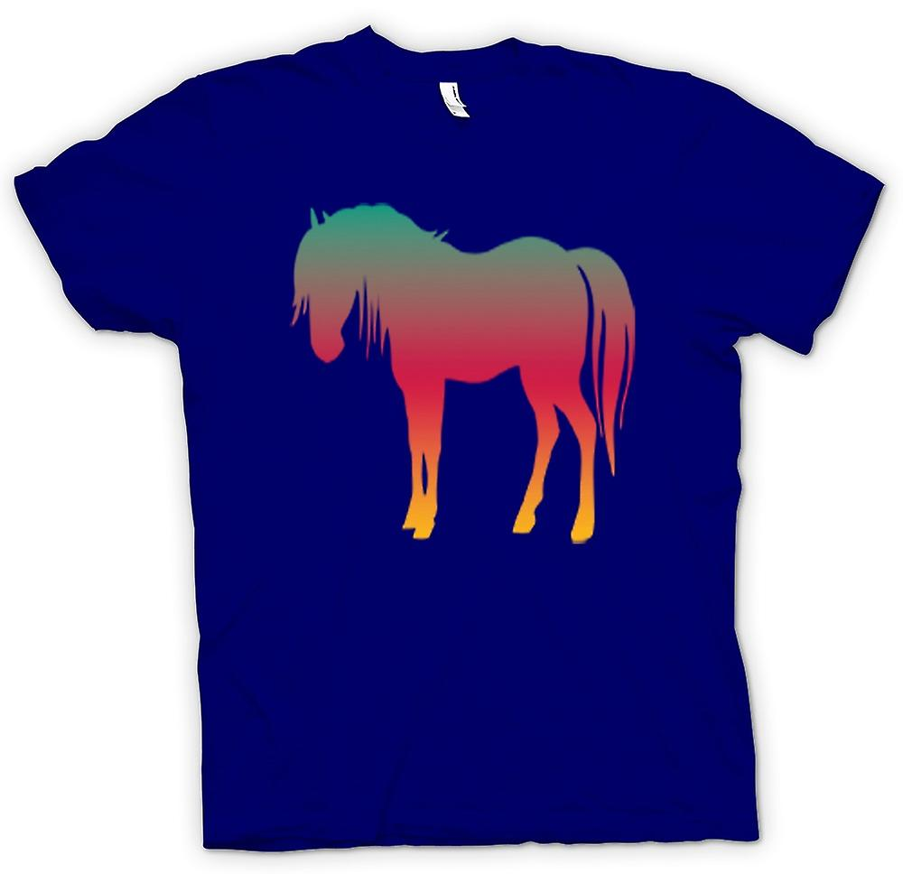 Mens T-shirt-Rainbow Design Pferd Psychedelic