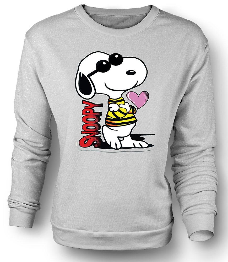 Mens Sweatshirt Snoopy Cartoon With Heart
