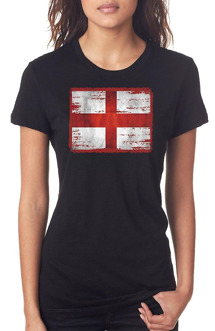 England Grunge Flag Ladies T Shirt