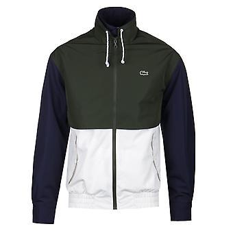 Lacoste Doubleneck Water-Resistant White & Green Zip Jacket