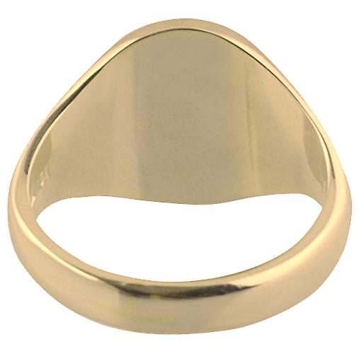 9ct Gold 16x14mm solid plain oval Signet Ring Size W