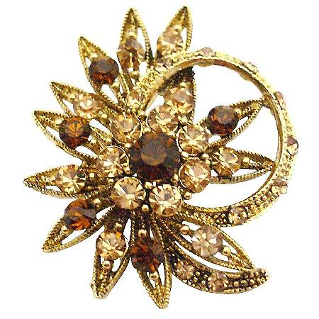 Decorated Ring Shaped Flower Smoked Topaz & Colorado Crystals Brooch