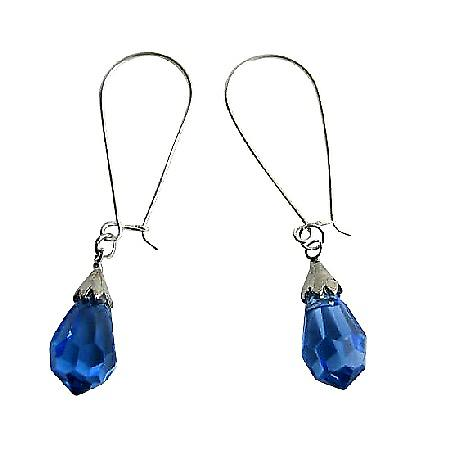 Lite Sapphire Czech Crystal Teardrop Sterling Silver Hoop Earrings