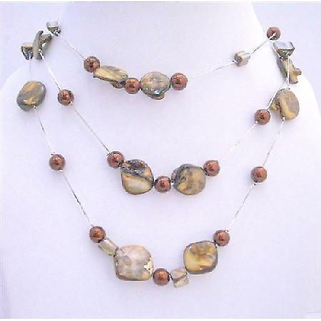 Three Stranded Brown Shell w/ Brown Simulated Pearls Chunky Necklace