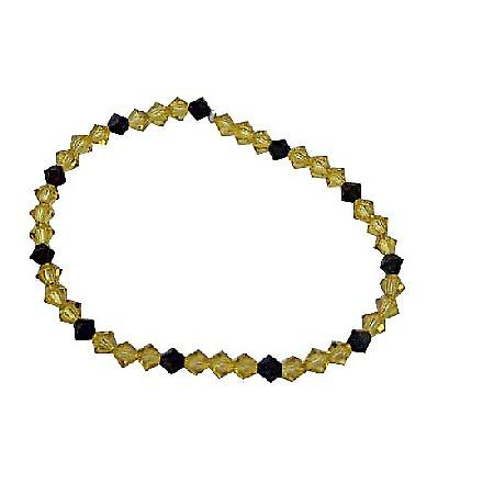 Dark Jonquil Crystals & Jet Swarovski Crystals Stretchable Bracelet