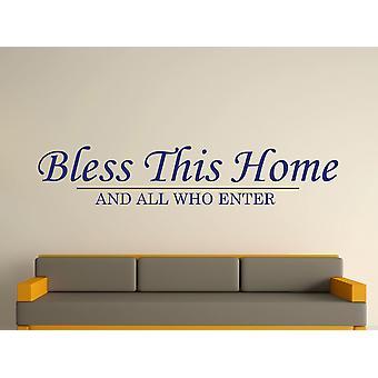 Bless This Home Wall Art Sticker - Ultra Blue