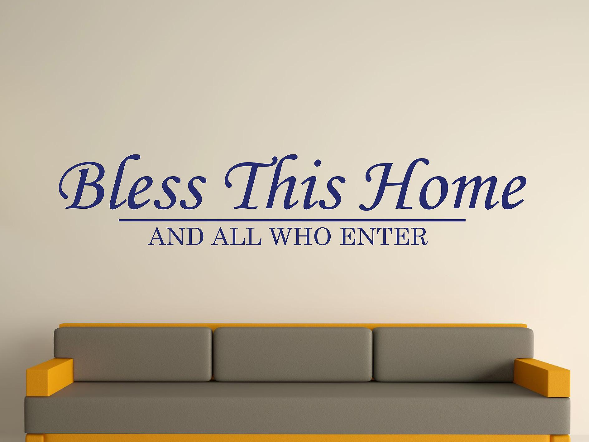 Bless This Home Wall Art Sticker - Ultra Blue