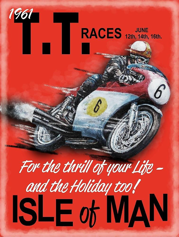 Isle of Man TT 1961 large metal sign  400mm x 300mm (og)
