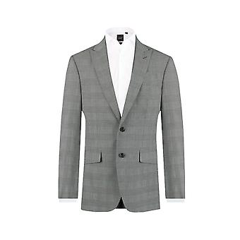 Dobell Mens Black and White 2 Piece Suit Slim Fit Peak Lapel Prince of Wales Check