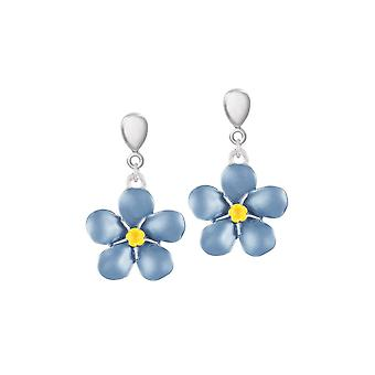 Eternal Collection Forget-Me-Not Blue Enamel Silver Tone Drop Clip On Earrings
